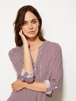 Kadın Krem Çizgili Uzun Kollu Gömlek