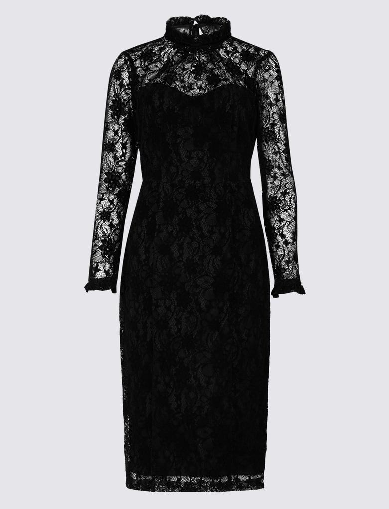 f7ca4dae4f983 Kadın Siyah Dantelli Elbise - T42009412X | Marks & Spencer