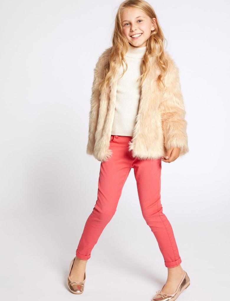 Kız Çocuk Renksiz Suni Kürk Mont