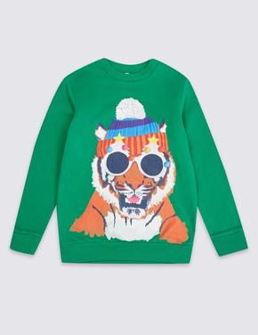 Multi Renk Kaplan Desenli Sweatshirt