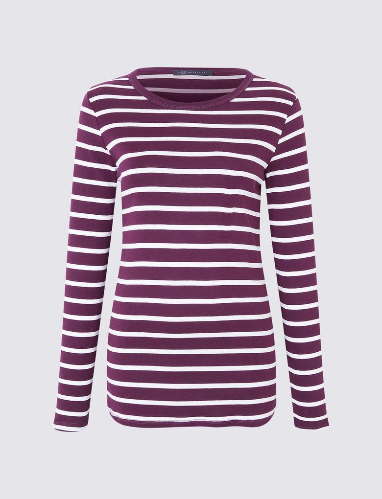 Kadın Mor Uzun Kollu Çizgili T-Shirt