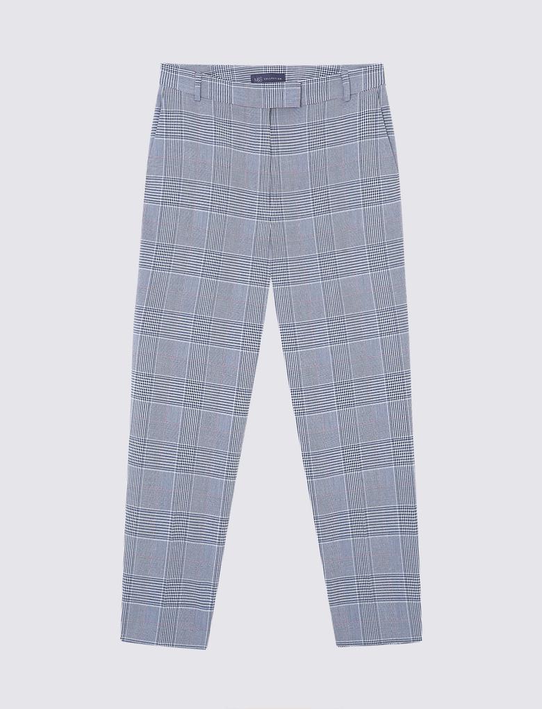 Tailored Fit Bol Paça Ekose Pantolon