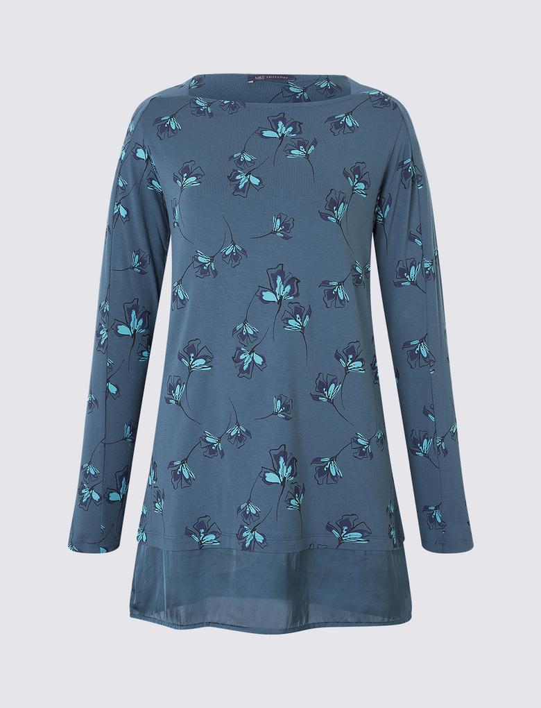 Uzun Kollu Çiçekli Tunik Bluz
