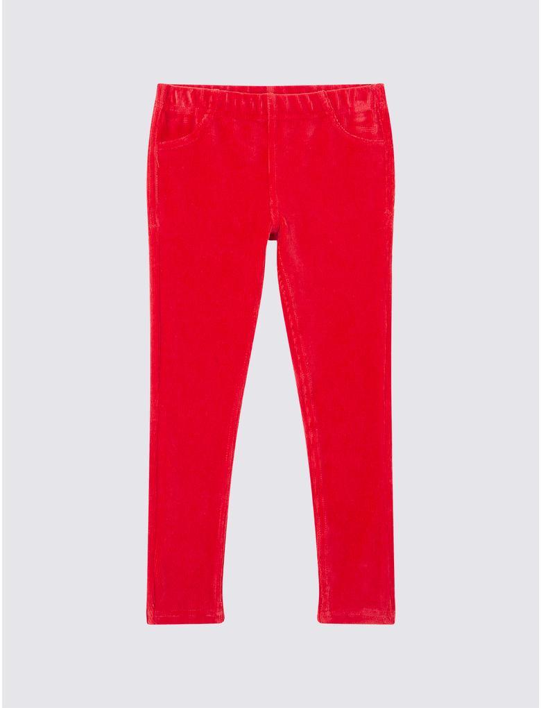 Kırmızı Kadife Tayt Pantolon