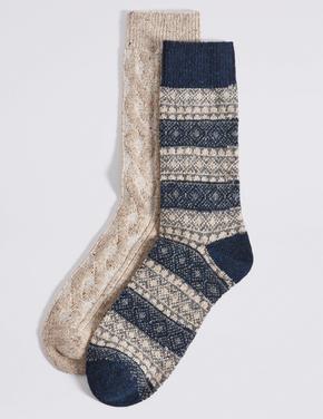 2'li Termal Yünlü Fairisle Desenli Çorap Seti