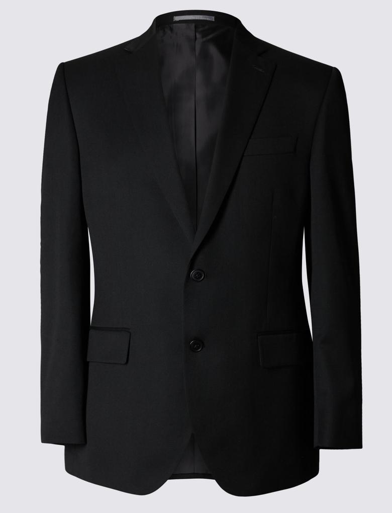 Siyah Siyah Regular Fit Ceket