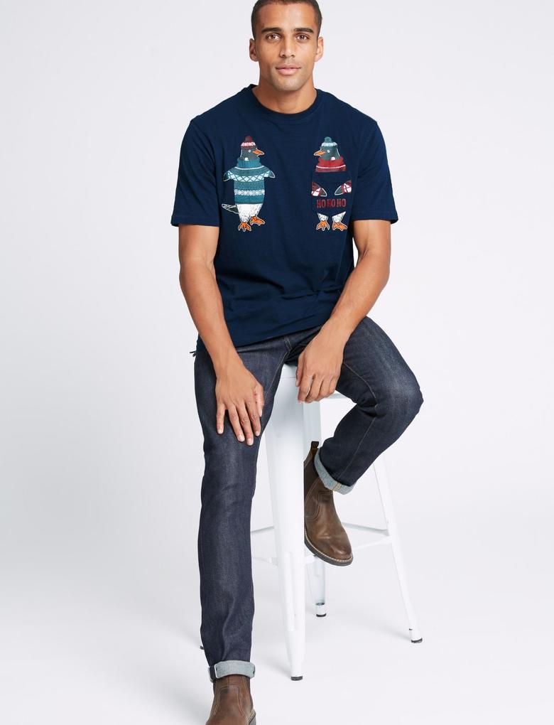 Saf Pamuklu Penguin Desenli T-Shirt
