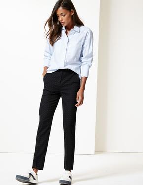 Noktalı Slim Leg Pantolon