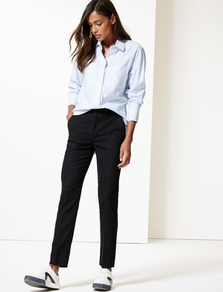 Kadın Lacivert Minik Puantiyeli Slim Leg Pantolon