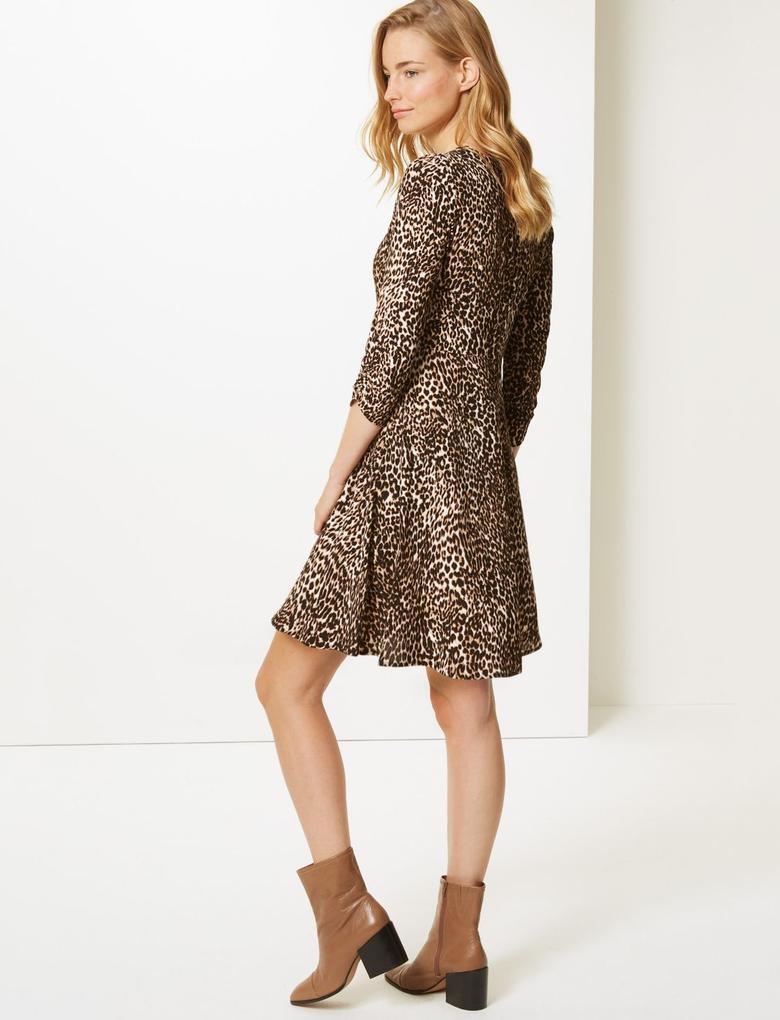 Desenli 3/4 Kollu Mini Elbise