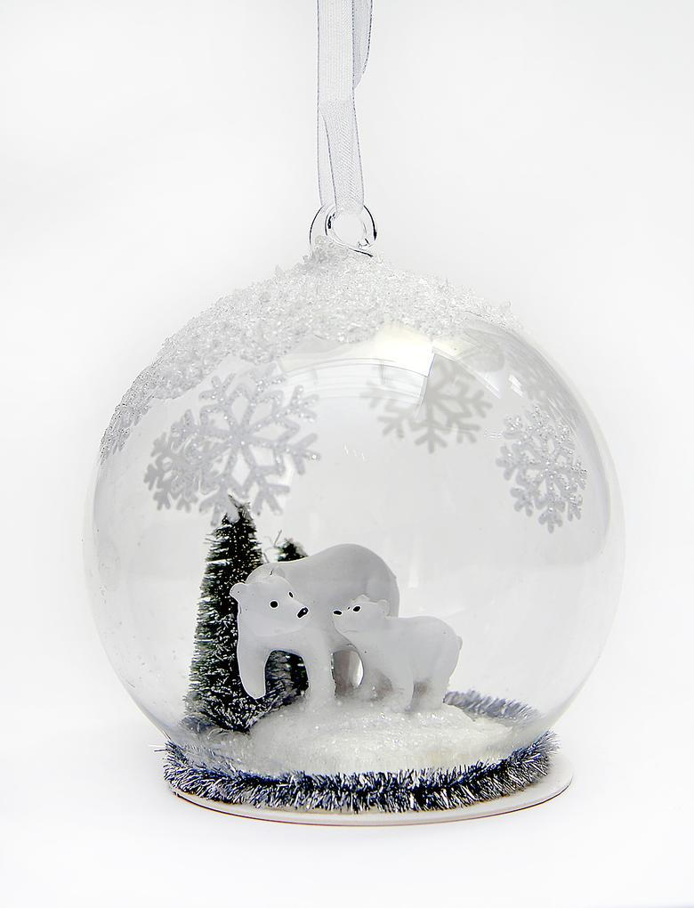 Beyaz Kutup Ayısı Küre Çam Ağacı Süsü