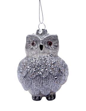 Gümüş Renkli Baykuş Çam Ağacı Süsü