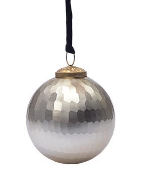 Gümüş Renkli Cam Çam Ağacı Süsü