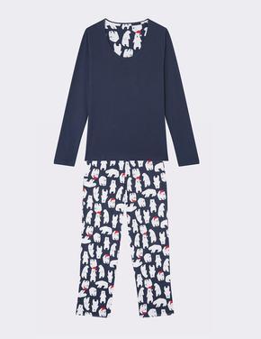 Uzun Kollu Kutup Ayısı Desenli Pijama Takımı