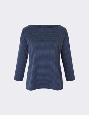Kadın Mavi Uzun Kollu Jakarlı Bluz