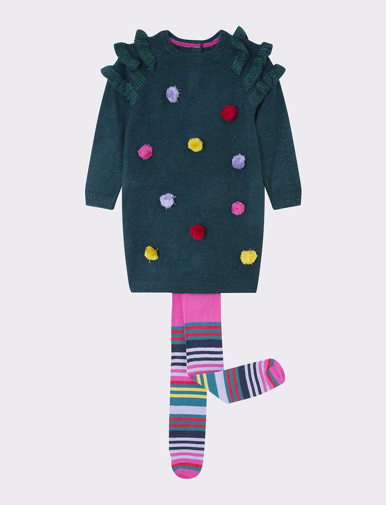 Kız Çocuk Yeşil Ponponlu Elbise