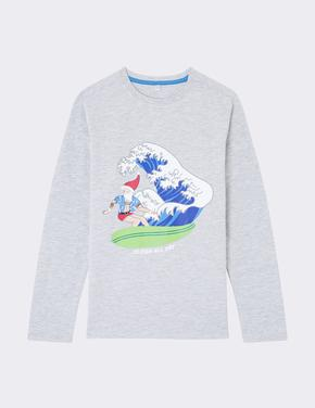 Uzun Kollu Desenli T-Shirt