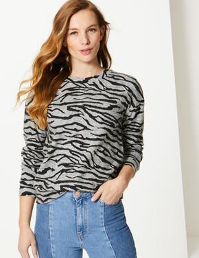 Desenli Uzun Kollu Sweatshirt