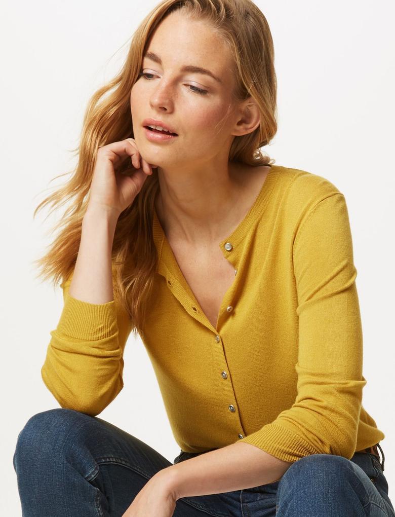 Kadın Kahverengi Yuvarlak Yaka Hırka