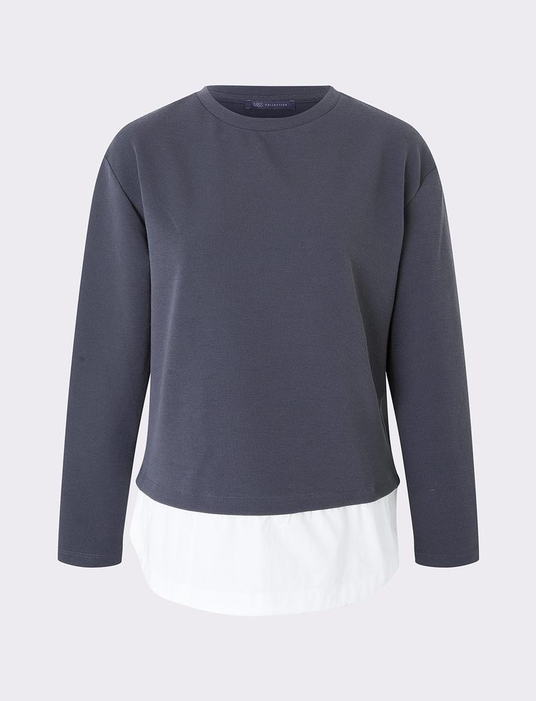 Kadın Gri Uzun Kollu Bluz