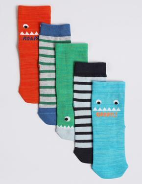 5'li Canavar Desenli Çorap