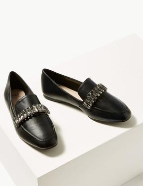 Kare Burunlu Taşlı Loafer Ayakkabı