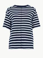 Yarım Kollu Çizgili T-Shirt