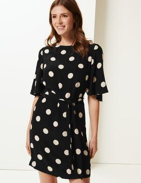 Yarım Kollu Puantiyeli Elbise