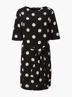Siyah Yarım Kollu Puantiyeli Elbise