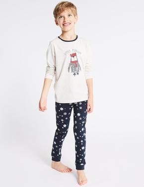 Mini Me Penguen Desenli Pijama Takımı