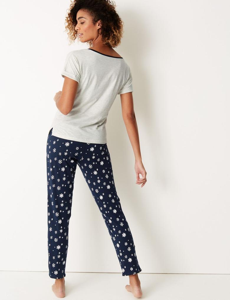 Penguen Desenli Kısa Kollu Pijama Takımı