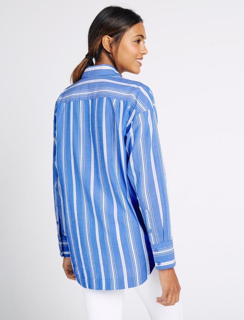 Saf Pamuklu Uzun Kollu Çizgili Gömlek