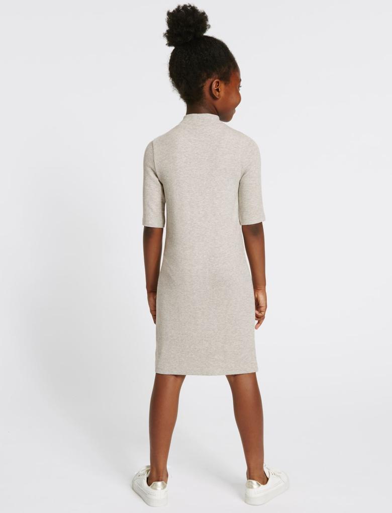 Gri Fitilli Bodycon Elbise (3 - 14 Yaş)