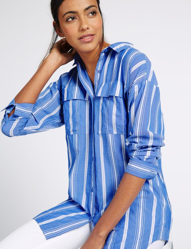 Mavi Saf Pamuklu Uzun Kollu Çizgili Gömlek