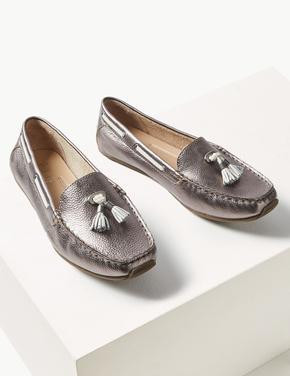 Metalik Geniş Kalıplı Deri Loafer Ayakkabı