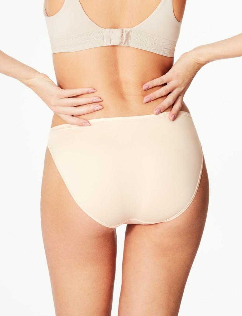 Kadın Bej 5'li İz Bırakmayan Mikrofiber High Leg Külot Seti