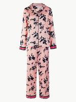 Satin Çiçek Desenli Pijama Takımı