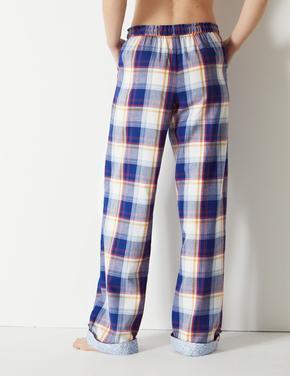 Saf Pamuklu Ekose Uzun Pijama Altı