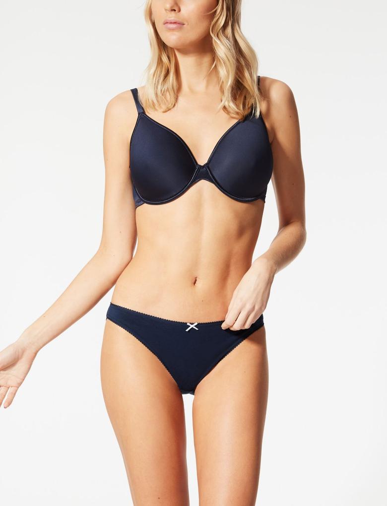 Mavi 5'li Saf Pamuklu Bikini Külot Seti