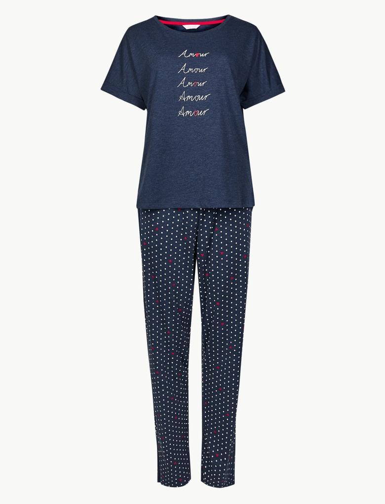 Pamuklu Desenli Kısa Kollu Pijama Takımı
