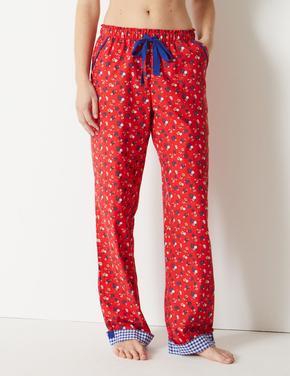 Saf Pamuklu Çiçek Desenli Pijama Altı