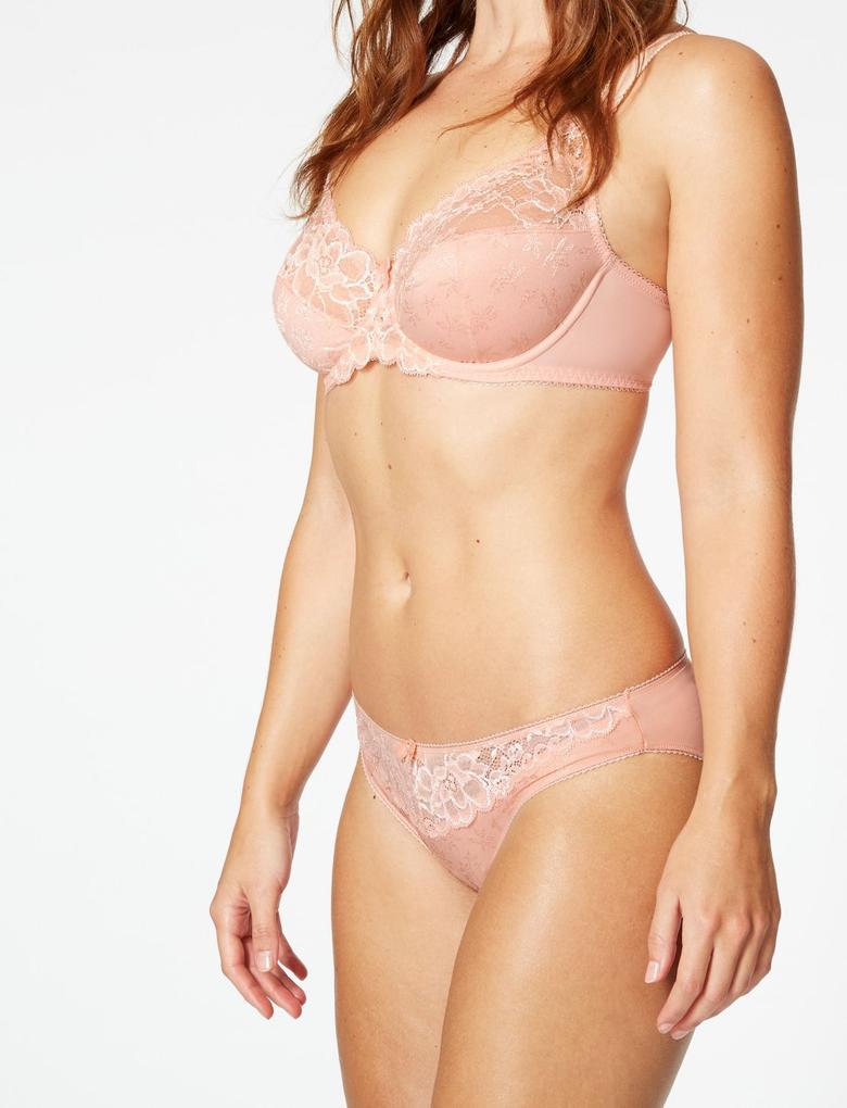 Turuncu Jakarlı ve Dantelli Bikini Külot