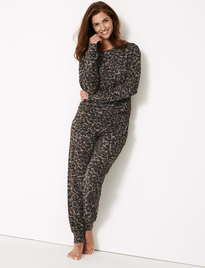 Renksiz Desenli Uzun Kollu Pijama Üstü