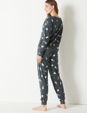 Pamuklu Kedi Desenli Pijama Takımı