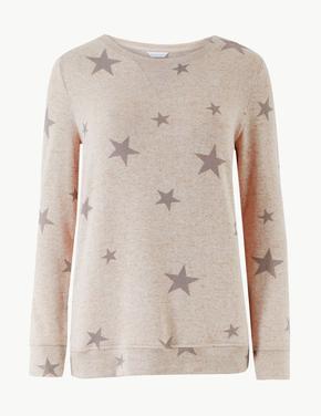 Yıldız Desenli Uzun Kollu Pijama Üstü