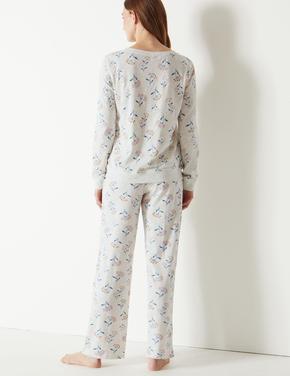 Pamuklu Desenli Pijama Takımı