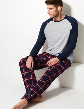 Erkek Saf Pamuklu Ekose Pijama Takımı