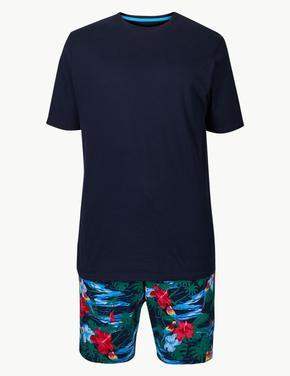 Saf Pamuklu Desenli Pijama Takımı