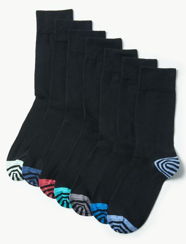 Siyah 7'li Cool & Freshfeet™ Pamuklu Çorap Seti