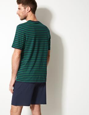 Saf Pamuklu Çizgili Pijama Takımı